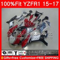 Wholesale R1 Orange Fairings - Injection red black Body For YAMAHA YZF 1000 YZF R 1 YZF-1000 YZF-R1 15 17 87NO22 YZF1000 YZF R1 15 16 17 YZFR1 2015 2016 2017 Fairing kit