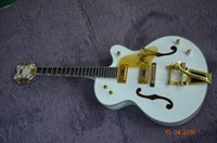 Wholesale Guitars Hollowbody - 6 string Semi hollowbody guitar White Falcon Ebony fingerboard Golden tuner and tailpiece Color can custom With good quality bridges