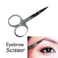 Wholesale nose smaller - Makeup Tool Korea Small Eyebrow Scissors Cut Manicure Nose Stainless Steel Makeup Scissors Eyebrow With Sharp Head