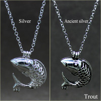Wholesale Fish Pendant Designs Silver - Lovely popular pearl cage with the latest design, silver cute fish pearl cage pendant jewelry gift