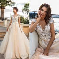 Wholesale Embroidered Bridal Dresses - Cap Sleeves 3D Flora Lace Appliques Wedding Dresses Heavily Embroidered 2017 V Neckline Romantic Princess Ivory Beach Wedding Bridal Gowns