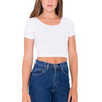 Wholesale Basic Tee Crop Top - Wholesale-Hot Women Sexy Short Sleeve Scoop Neck Basic Deep Back Crop Tops Belly Tee T Shirts H34
