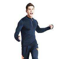 Wholesale fasting fitness - Men's tight elastic fast-drying long-sleeved sports T-shirt men's leisure fitness clothes