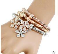 Wholesale Layered Chain Wholesale - The elastic corn chain tricolour suit bracelets Snowflake skull multi-layered diamond bracelet three styles can choose