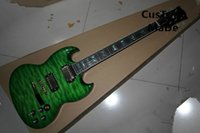 Wholesale Electric Guitars Lefty - Wholesale- Top Selling Chinese Musical Instrument Green Quilted Maple Finish SG Electric Guitar Kits Lefty Custom Available