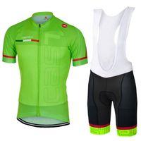 Wholesale Cycling Bib Shorts Green - 2017 Green Cycling short jersey set men summer style black white bib shorts Mountain bike racing sport Ropa ciclismo 3D gel pad G0402