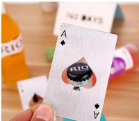 Wholesale ace playing cards - New Stylish Hot Sale Poker Playing Card Ace of Spades Bar Tool Soda Beer Bottle Cap Opener Gift DHL
