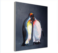 Wholesale Painted Penguin - Decorated Animal Picture Canvas Printing Hand Painted Penguin Lovers Wall Painting for Living Room or Baby Room No Frame
