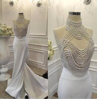 Wholesale long robe soiree sequin - Sexy Fashion Pearls Mermaid Prom Dress Real Picture High Neck Evening Dress Long Formal Prom Gown Dress Robe de soiree 2017 Floor Length