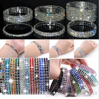 Wholesale Holiday Tennis - Full rhinestone stretch charm bracelets the colorful mix of fashion women jewelry single row and double row style of the best holiday a905