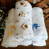 Wholesale Gauze Muslin Cloth - baby muslin blanket Newborn baby organic cotton double - washed gauze large package towel baby package cloth swadding cotton omnipotent blan