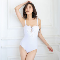 Wholesale Sexy Costumes For Cheap - white cheap sexy bathing suit one piece swimsuit female push up swimwear solid swimming costume for women monokini beach wear