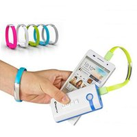 Wholesale Bank Line - Colorful data line Portable wrist Bracelet Magnet sync charging Micro USB Cable power bank chargers USB cables for Android phones universal