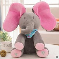 Wholesale Electric Baby Dolls - Kids Elephant Toy Stuffed 30cm Baby Plush Toy Animals Children Electric Music Plush Toys Funny Doll Best Gifts For Baby DHL Free Shipping