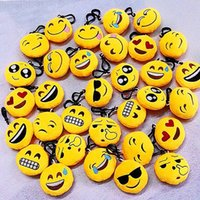 Wholesale Plush Doll Key Chain - 2017 QQ emoji plush pendant Key Chains Emoji Smiley Small pendant Emotion QQ Expression Stuffed Plush doll toy 6cm size toys