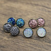 Wholesale Earring Stud Post Silver - 12pairs lot Druzy earrings stud bronze tone Faux Druzy earring post Boho Jewelry