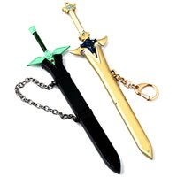 Wholesale Gold Wholesaler Online - Hot Anime Sword Art Online Key Rings Kirigaya Kazuto Gold Sword Car Keychain Jewelry For Gift
