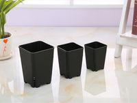Wholesale Japanese Design 3 size option side leakage square plastic flowerpot for succulent plants white black nursery pot, plant seeding