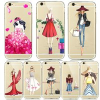 Wholesale Iphone Case Cartoon Girl - Fashion Cartoon Painting Transparent Silicone TPU Soft Case For iPhone 6S SE 5 5S 6 7 Cute Personality Girl coque Shopping flower