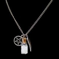 Wholesale Pentagram Design - Wholesale-free shipping 2016 hot fashion detail Supernatural Necklace Salt Bottle Angel Wing Design Pentagram Charm Pendant