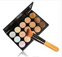 Wholesale Acne Free Brush - Cosmetic Salon Party 15 Colors color Camouflage Palette Face Cream Makeup Concealer Palette Make up Set Tools With Brush free shipping DHL