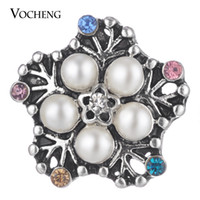 Wholesale Vintage Pearl Clasps Wholesale - VOCHENG NOOSA Ginger Snap Jewelry Pearls Button Flower Vintage Style 18mm 2 Colors Vn-1767