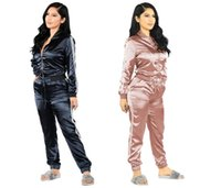 Wholesale Elegant Womens Cotton Tops - Satin two piece set tracksuit for women elegant top and pants set 2017 womens casual sweat suits fitness summer outfits