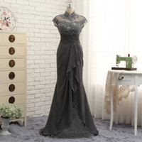 Wholesale Maid Collar - Designer Gray Mother Of The Bride Dresses Chiffon And Lace High Neck Cap Sleeve Mermaid Maid Of Honor Groom Evening Gowns