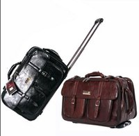 Wholesale Trolley Bag Business - 2016 red black new genuine leather Trolley Luggage Vintage Suitcase bbrown boarding package Business Travel Bags Men Women Specials