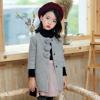 Wholesale Kids Western Coats - Everweekend Children Girls Korean Gray Color Fashion Coats Winter Warm New Western Kids Girls Outwears Cute Balls Jackets