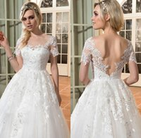 Wholesale Sweetheart Empire Sleeve - 2017 Vintage Lace Wedding Dress Plus Size Tulle Beach Cheap Sweetheart Appliqued Empire Wedding Bridal Gown with short sleeve Custom Made