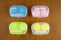 Wholesale Eye Contacts Colors - 10 Type Colourful Contact Lens Box Holder Candy colors Soak Soaking Storage Eye Care Kit Double Case Lens Cases With Tweezers And Stick
