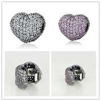 Wholesale Full Pandora Bracelets - Genuine 925 Sterling Silver Heart Clip Charm Beads with Full AAA Cubic Zirconia Fit Pandora Charms Bracelet Necklace DIY Jewelry Making