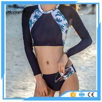 Wholesale Wetsuit Shorts L - short wetsuit long sleeves Digital printing bikini set swimwear women diving suit