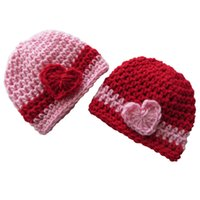 Wholesale Lovely Boys Photos - Lovely Valentine's Day Beanie Hat,Handmade Knit Crochet Twins Baby Boy Girl Striped Hat with Heart, Newborn Photo Props,Baby Shower Gift
