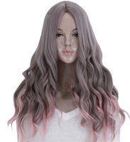 Wholesale Cosplay Grey Hair - Cosplay Hair Wigs Long Body Wave Granny Grey Side Bang Wig Heat Resistant Ombre Grey Synthetic Wig