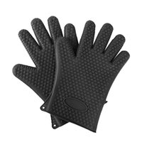 Wholesale One pair Kitchen Oven Glove Heat Resistant Silicone Pot Holder Baking BBQ Cook Mitts black