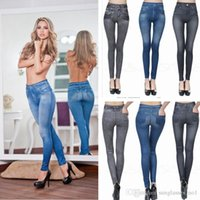 Wholesale Skinny Jeggings Wholesale - S-2XL Women Jeans Leggings Skinny Pants Tights Gray Blue Seamless Denim Imitation Jeans True Pocket Leggins Jeggings PPA737