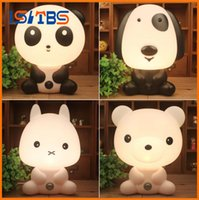 Desk Night Lights Baby Room Panda / Rabbit / Dog / Bear Cartoon Night Light Lampe de lit pour enfant Lampe de nuit dormant Lampe de table avec ampoule