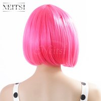 "Wholesale Pink Cosplay Wigs Short - Neitsi Women's Girl's Cosplay Short Synthetic BOB Hair Wigs Christmas Party (Pink#) 100% Kanekalon Fiber 14""(35cm) 160g pc"