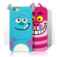 Wholesale Alice Iphone - 3D Cartoon Monster University Sulley Tiger Marie Alice Cover For Iphone 7 6 6s Plus Samsung Galaxy S7 S6 Edge Soft Silicone Case OPPBAG