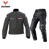 Wholesale Duhan Race Jacket - DUHAN Professional Men's Motorcycle Motocross Off-Road Racing Jacket Body Armor+ Riding Pants Clothing Set black blue red