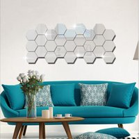 Wall Stickers Wallpaper Acrylic 3D Mirror Effect Home Room Decor Removable Modern Fashion Size 80 * 80mm 5 Color