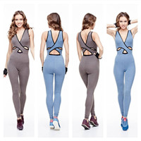 Wholesale Siamese Pants - 2017 New Fashion Women Yoga Cloths Back Cross V-neck Bandage Sports Pants Solid Yoga Outfits Siamese Workout Clothes