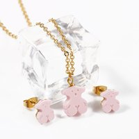 Wholesale Original Gold Earrings - 2017 Stainless Steel Bear Jewelry Set High Quality 4 Colours For Women Brand Jewelry Original Design Gold Plated