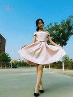 Wholesale Rate Light Blue - Top Rated Short Bridesmaid Dresses 2017 Off Shoulder Light Pink Cheap Junior Bridesmaids Dress Formal Wedding Guest Dress 2016 New