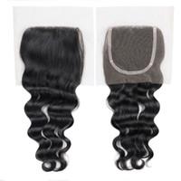 "Wholesale Cheapest Free Shipping Human Hairs - Free Shipping Cheapest Virgin Hair Peruvian Lace Closure 4""x4"" Swiss Lace Natural Wave Human Hair Closure"