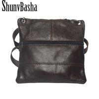 Wholesale Vintage Bolso - Wholesale- 2016 New Brand Genuine Leather Men messenger Bag Vintage Cowhide Crossbody Bags for man bolso shoulder bags mens