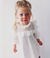 Wholesale Rolled Collars - 2017 New Girl Spring Summer Dresses Roll Neck White Lace Half Sleeve Princess Dress Children Clothing 1-4Y 10075
