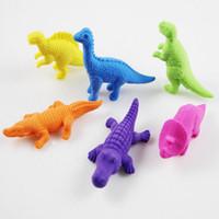 Wholesale pencils rubbers cartoon - Cartoon Animals Dinosaur Crocodile Pencil Eraser Cute Rubber Correction Erasers Student Stationery School Supplies Kids Gift Promotion